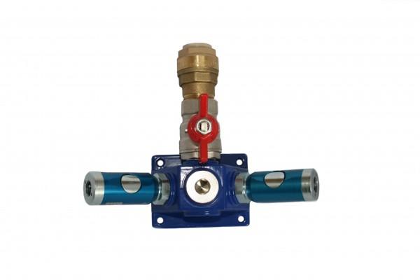 Druckluftzubehör - Verteilerblock mit Sicherheitskupplungen und Kugelhahn